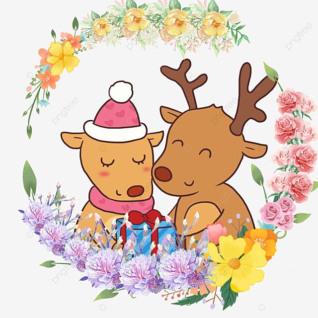 cute animal couple fawn color flower wreath