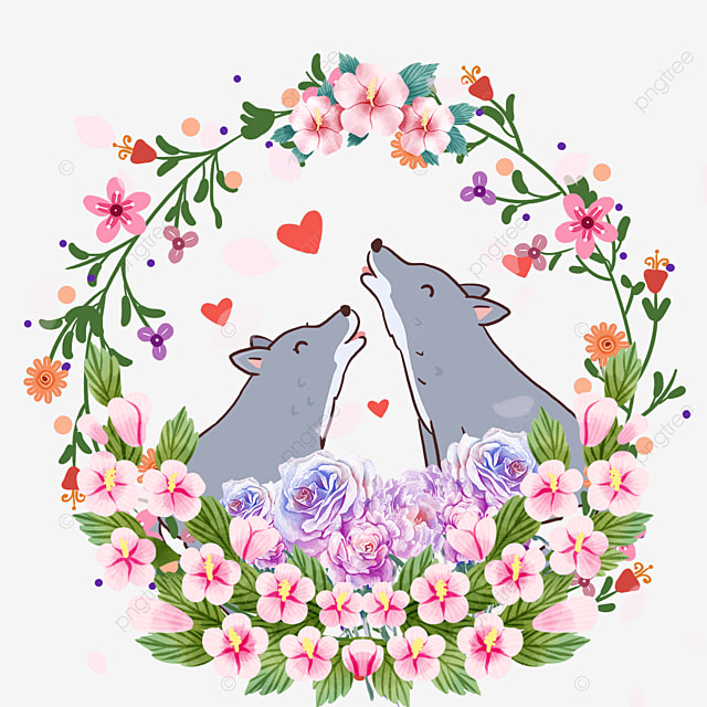 cute animal couple gardenia flower wreath