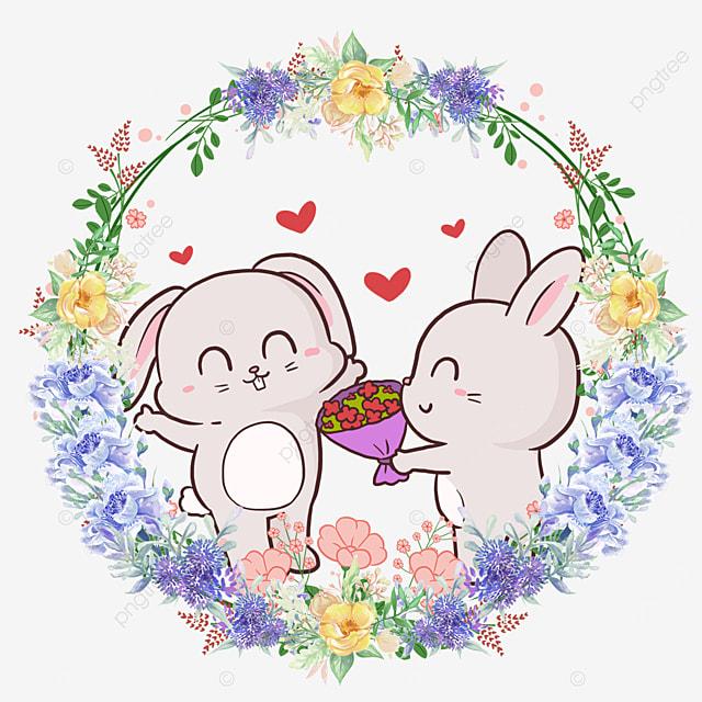 cute animal couple rabbit flower wreath