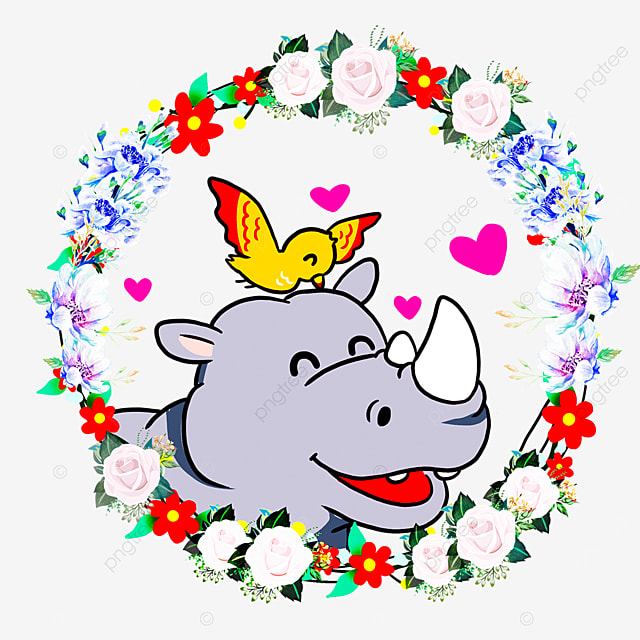 cute animal couple rhino flower wreath