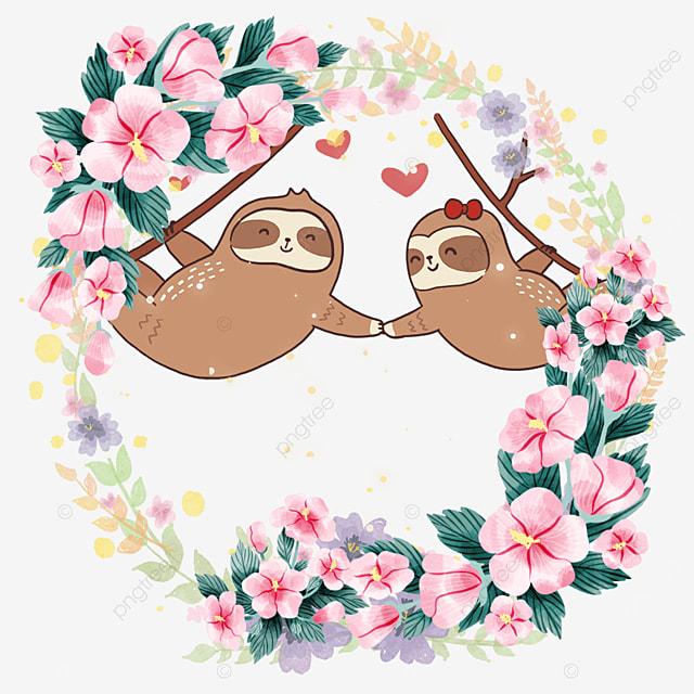 cute animal couple sloth flower wreath