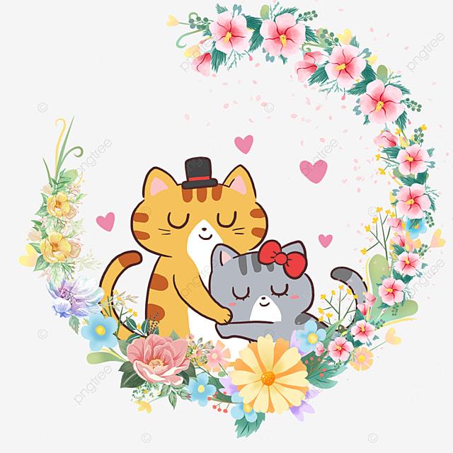 cute kitten animal couple color flower wreath