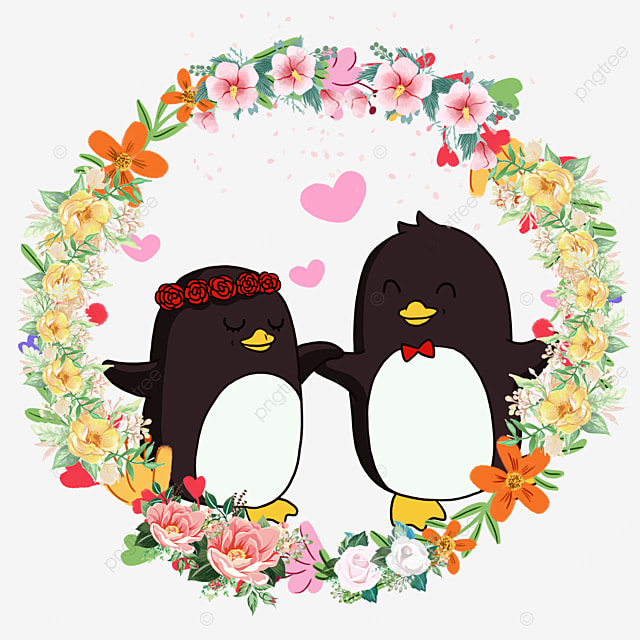 cute penguin animal couple flower wreath
