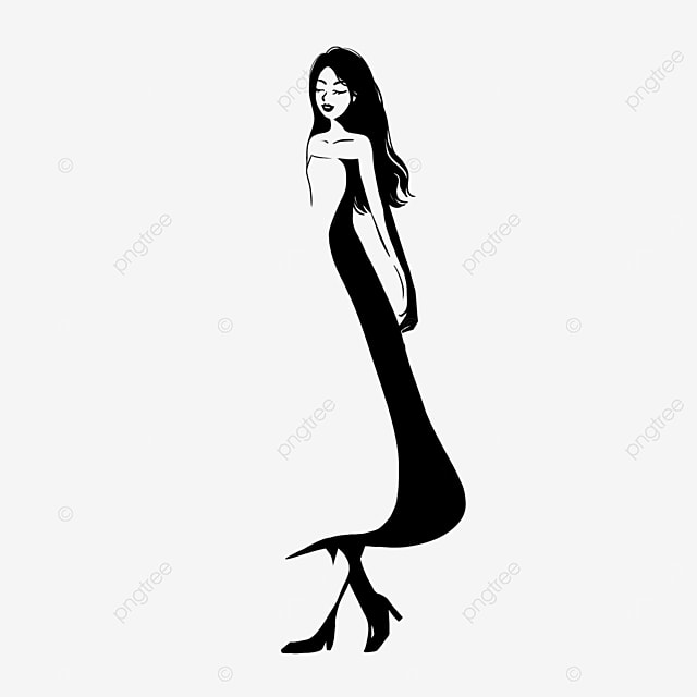 girl model in black rapunzel dress clip art