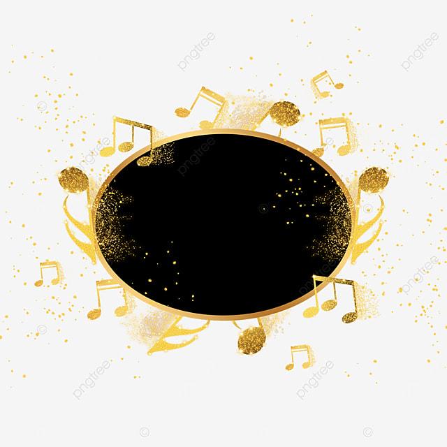 golden gold powder musical notes oval black border