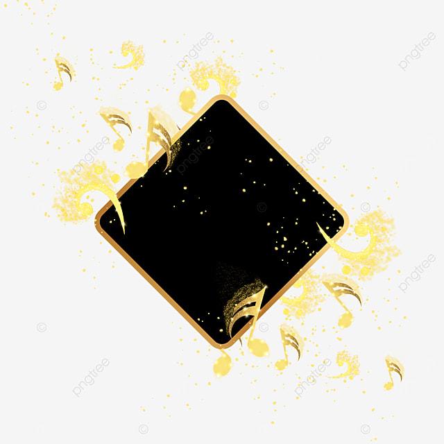 golden gradient note music black border