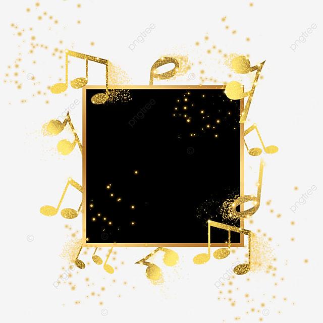 golden musical note music black border