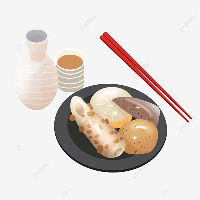 japanese oden with wine chopsticks