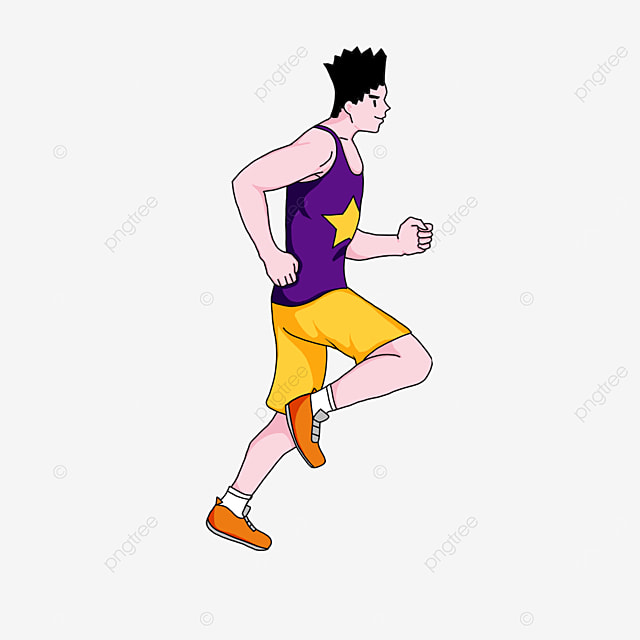 man exercising in the morning running clipart