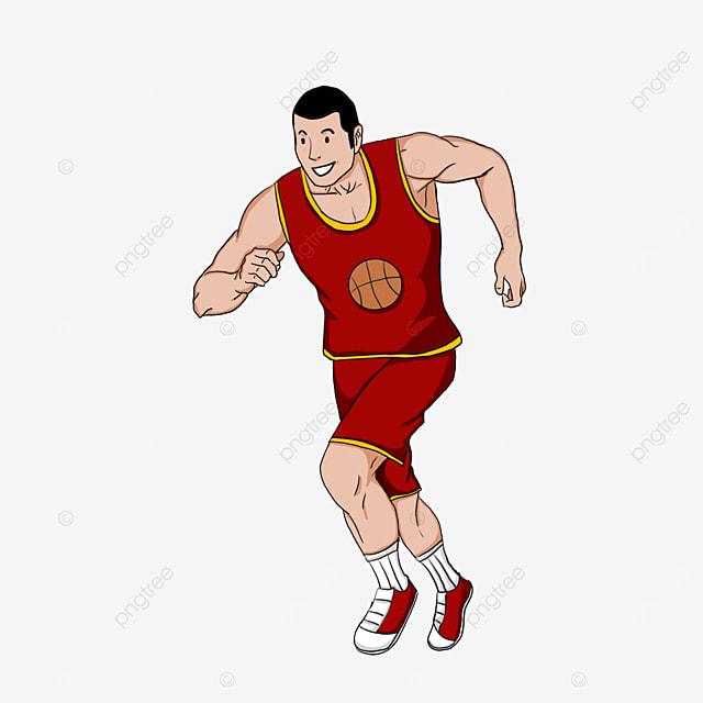 man running in red sportswear clipart