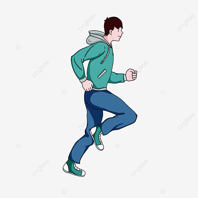 man running in winter sports clipart