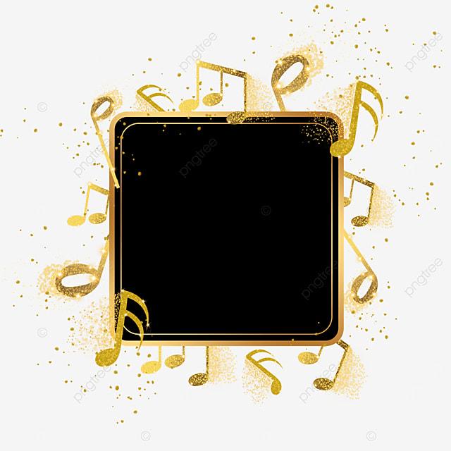 music symbol black gold color decorative border