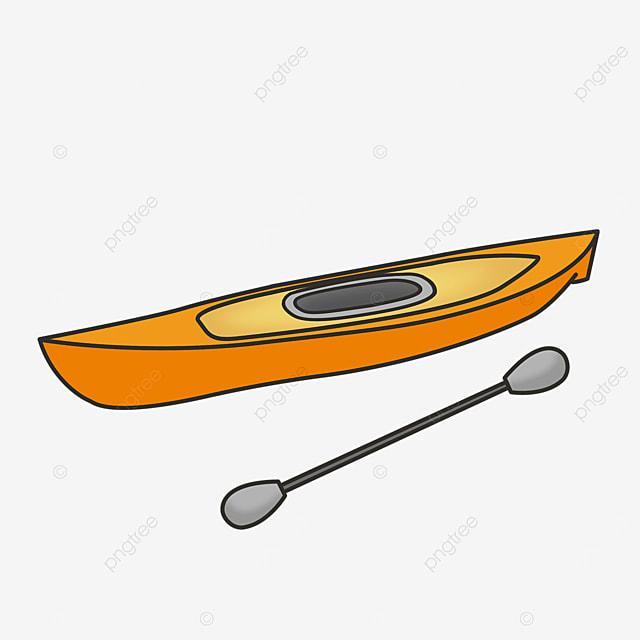 orange gray single kayak clip art