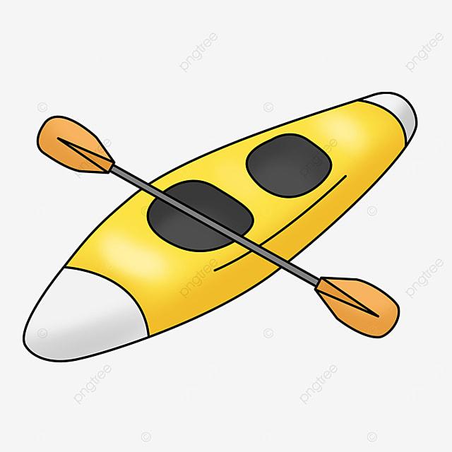 orange paddle yellow double kayak clipart