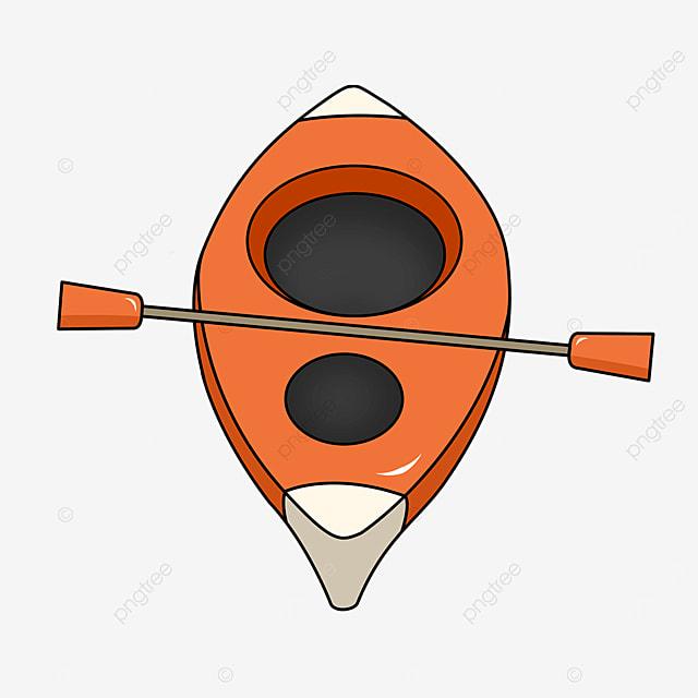 orange red single kayak clip art
