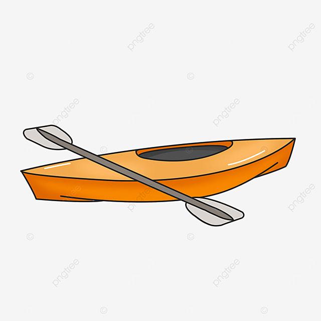 orange single cabin kayak clip art