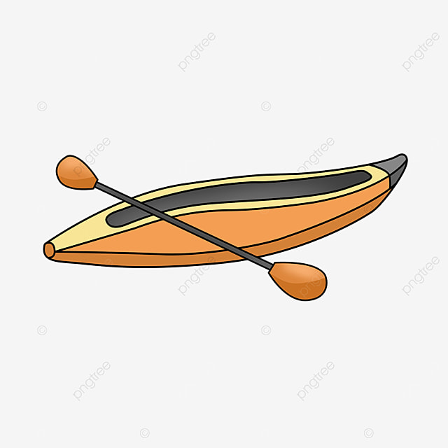 orange yellow boat type kayak clip art