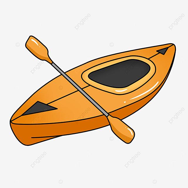orange yellow single cockpit kayak clip art