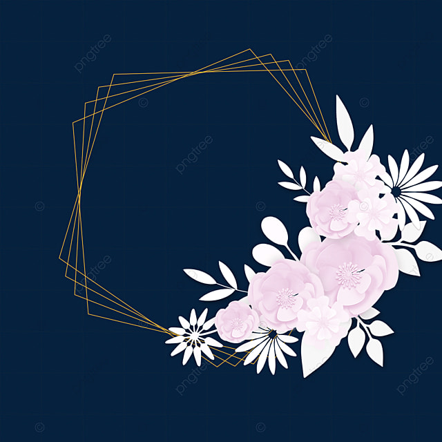 paper cut floral golden wedding border