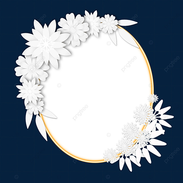 paper cut floral oval wedding border