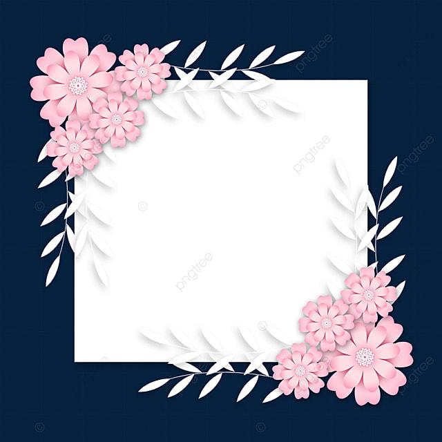 paper cut floral square wedding border