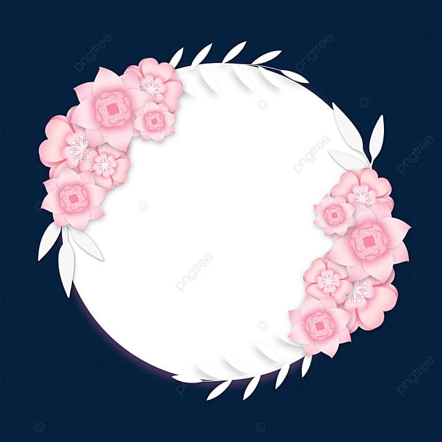 paper cut floral wedding pink border