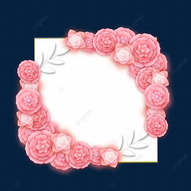 paper cut floral wedding symmetrical border