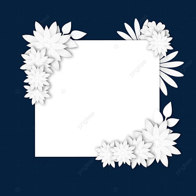paper cut floral white wedding border