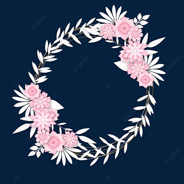 paper cut pink floral wedding border