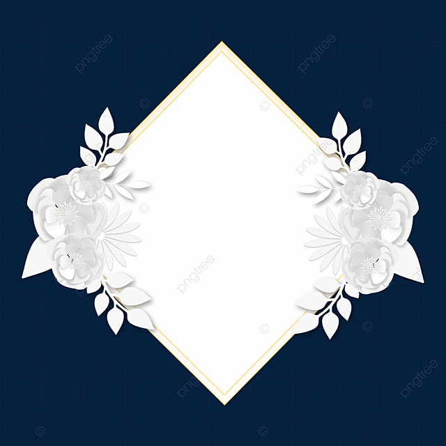 paper cut white floral symmetrical wedding border