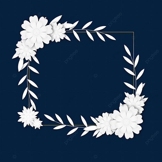 paper cut white floral wedding border