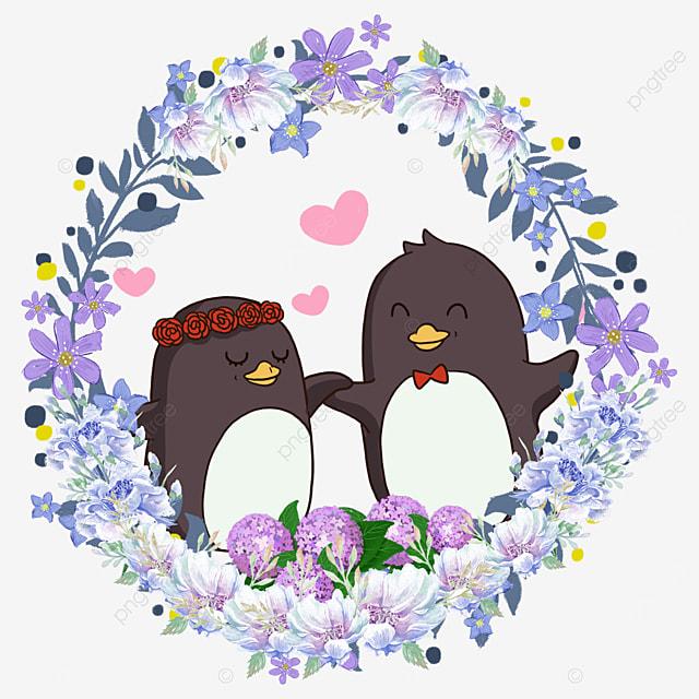 penguin cute animal couple flower wreath wearing a wreath