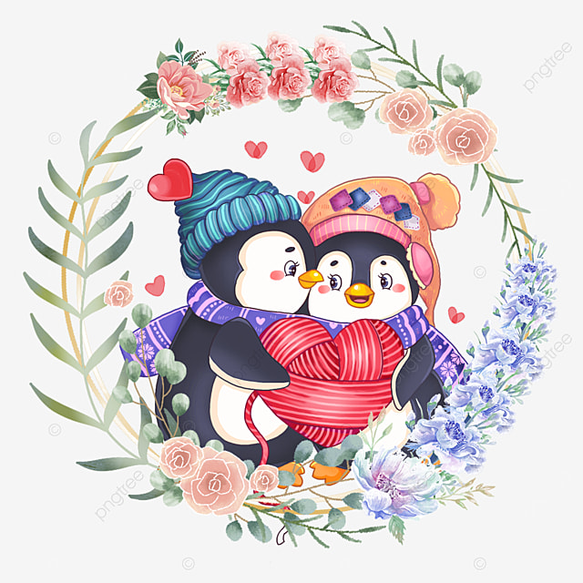 penguin cute animal couple flower wreath wearing scarf and hat