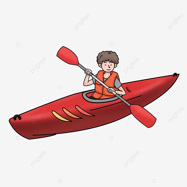red single cabin kayak clipart
