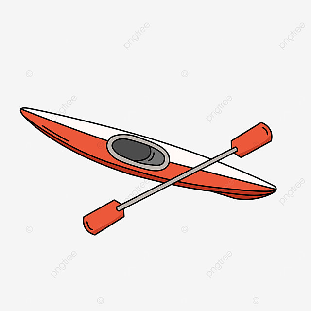 red white pointed single kayak clipart