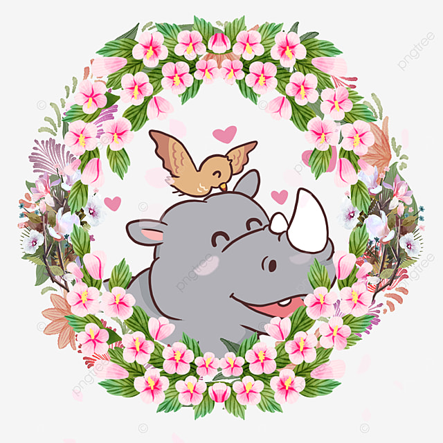 rhino animal couple gardenia flower wreath
