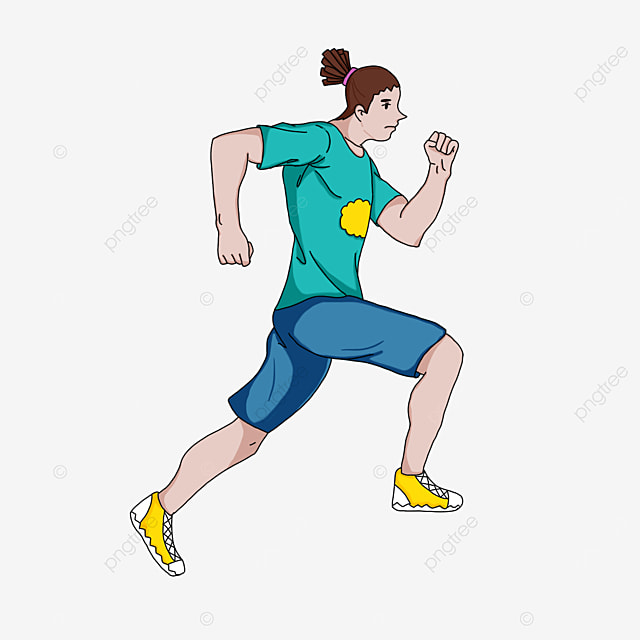 running man with dirty braids clipart