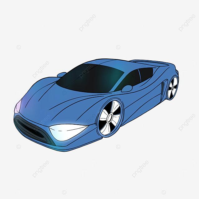 sports car clipart cartoon style blue