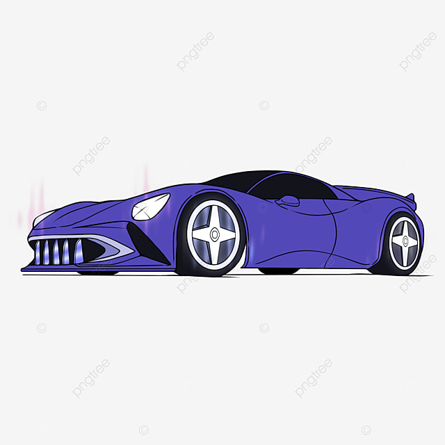sports car clipart cartoon style purple