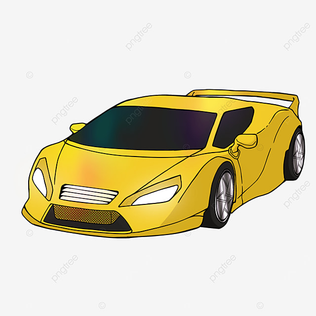 sports car clipart cartoon style yellow