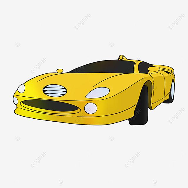 sports car clipart cartoon transportation yellow