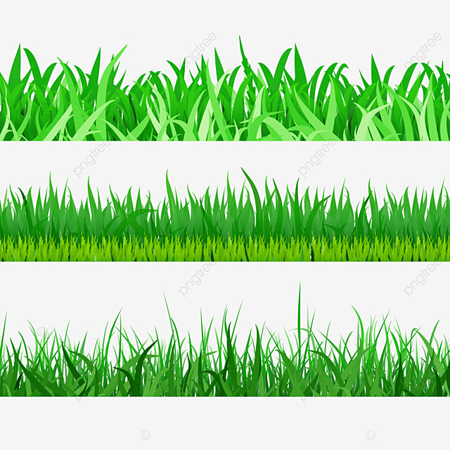 three sets of lush spring easter green grass