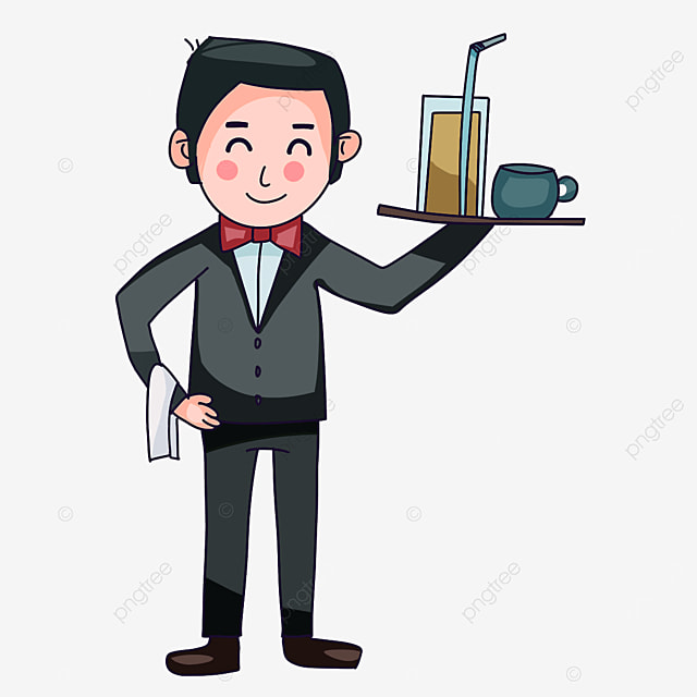 waiter delivering drinks with one hand clipart