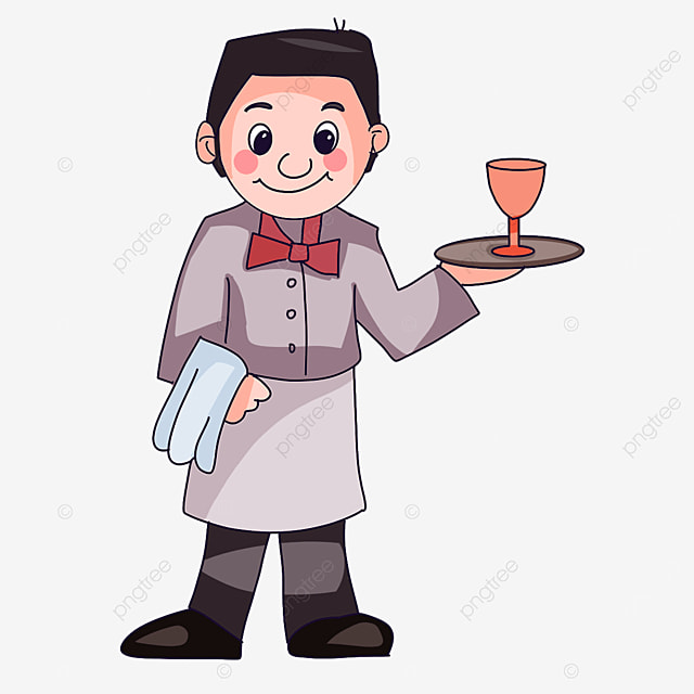 waiter holding a drink clipart