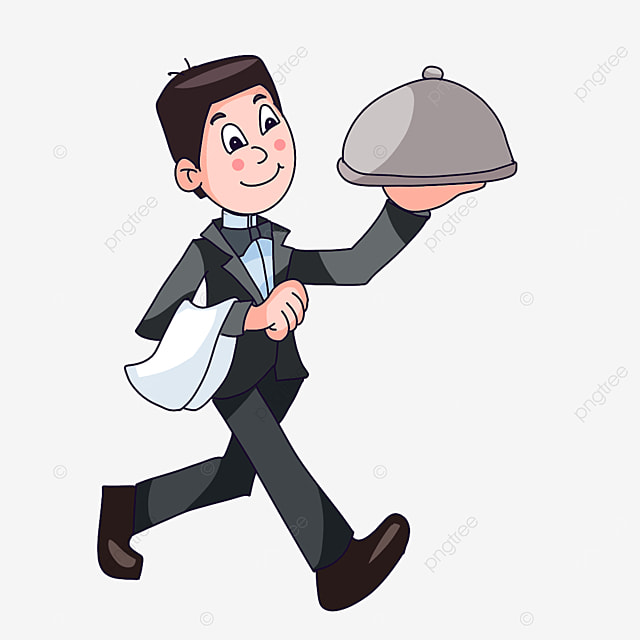 waiter in a hurry to deliver meal clipart
