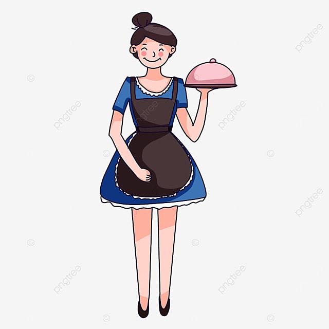 waiter in skirt clipart