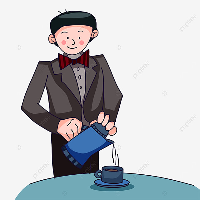 waiter pouring water clipart