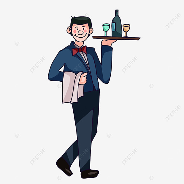 waiter wearing a bow tie clipart