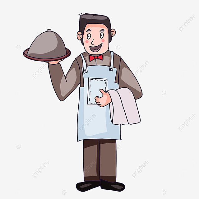 waiter wearing an apron clipart