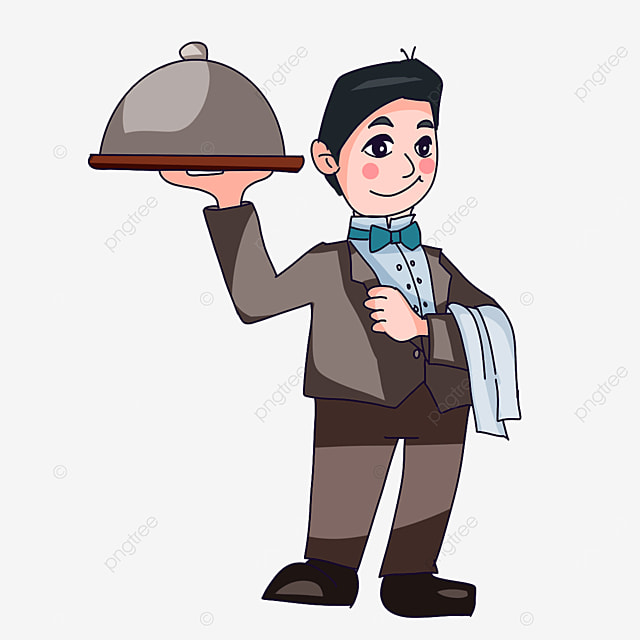 waiter wearing blue bow tie clipart